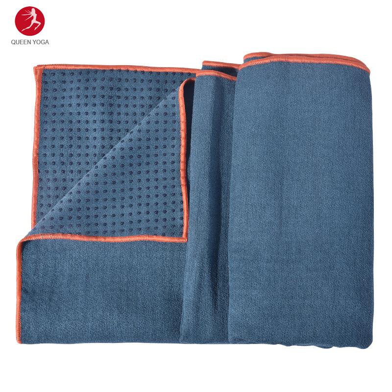 Khăn trải thảm Yoga cao cấp Yogitose phủ Silicon màu xanh đậm